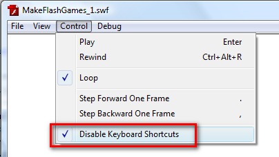 disable keyboard shortcut